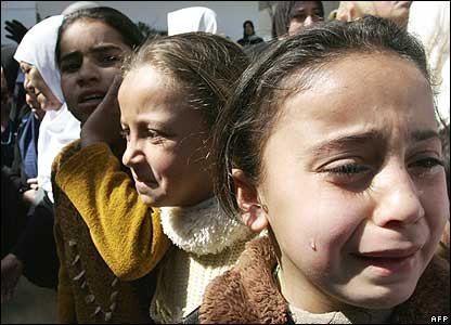 Children of Gaza, traumatized, crying, panic during a funeral, one of the so many, too much funerals they have to witness