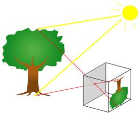 The basic principle of a pinhole camera